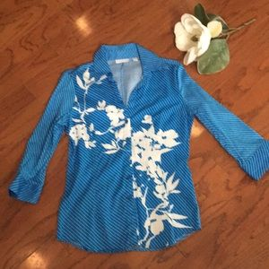 NY&C Turquoise Striped Quarter Sleeve Button Down